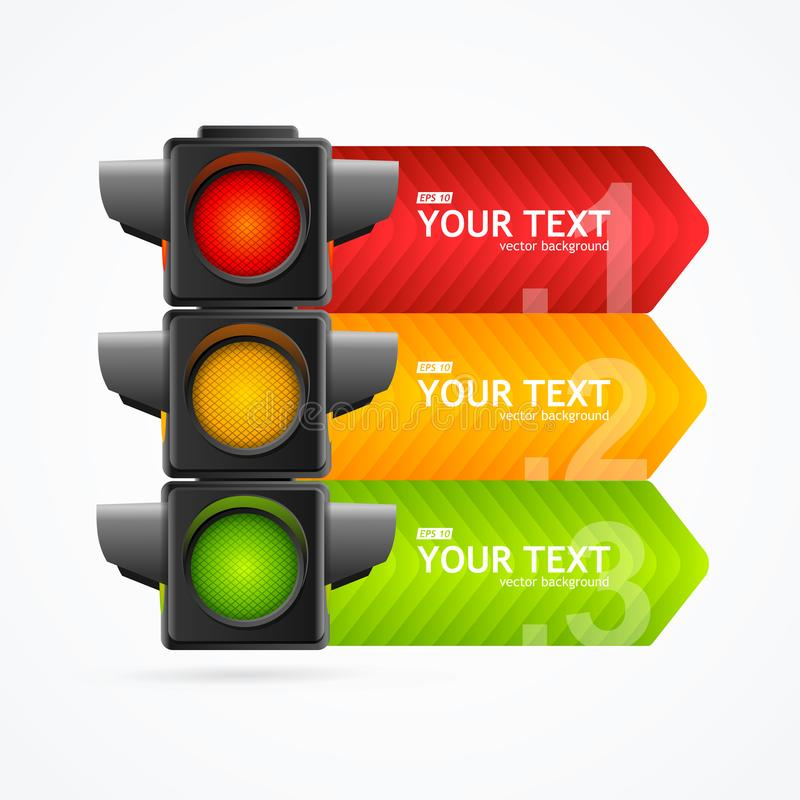 Realistic 3d Detailed Road Traffic Light Banner Card. Vector vector illustration