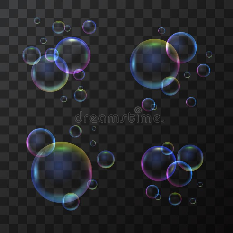 Realistic 3d Detailed Soap Bubble Set on a Transparent Background. Vector. Realistic 3d Detailed Shiny Soap Bubble Set Different Types Shape on a Transparent stock illustration