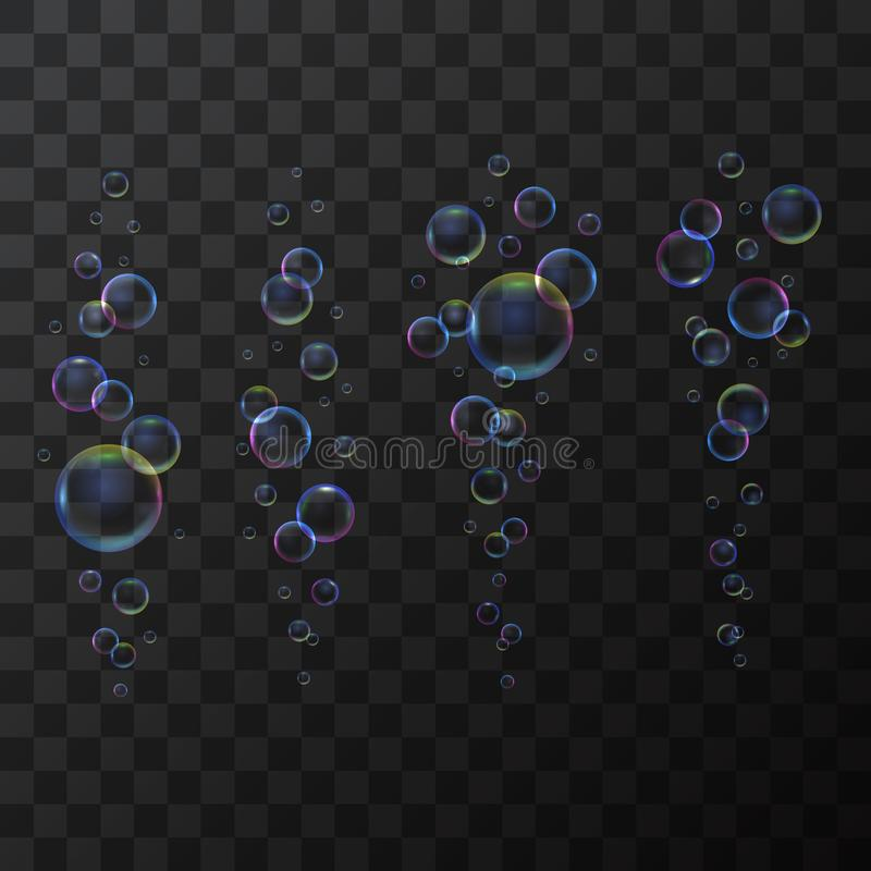 Realistic 3d Detailed Soap Bubble Line on a Transparent Background. Vector. Realistic 3d Detailed Shiny Soap Bubble Line Different Types on a Transparent vector illustration