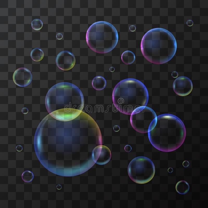 Realistic 3d Detailed Soap Bubble on a Transparent Background. Vector. Realistic 3d Detailed Shiny Soap Bubble Different Type on a Transparent Background Closeup royalty free illustration