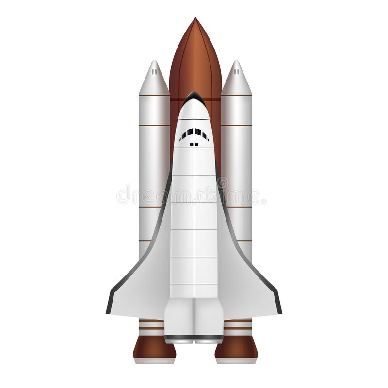 Realistic 3d Detailed Space Shuttle Takes Off. Vector royalty free illustration
