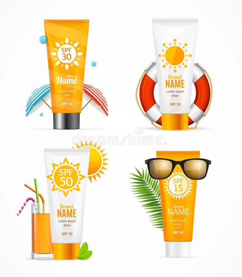 Realistic 3d Detailed Sunscreen Set. Vector royalty free illustration