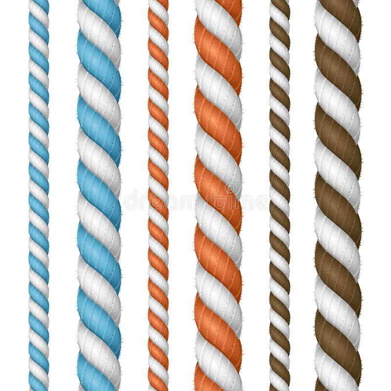 Realistic 3d Detailed Thickness Rope Line Set. Vector stock illustration