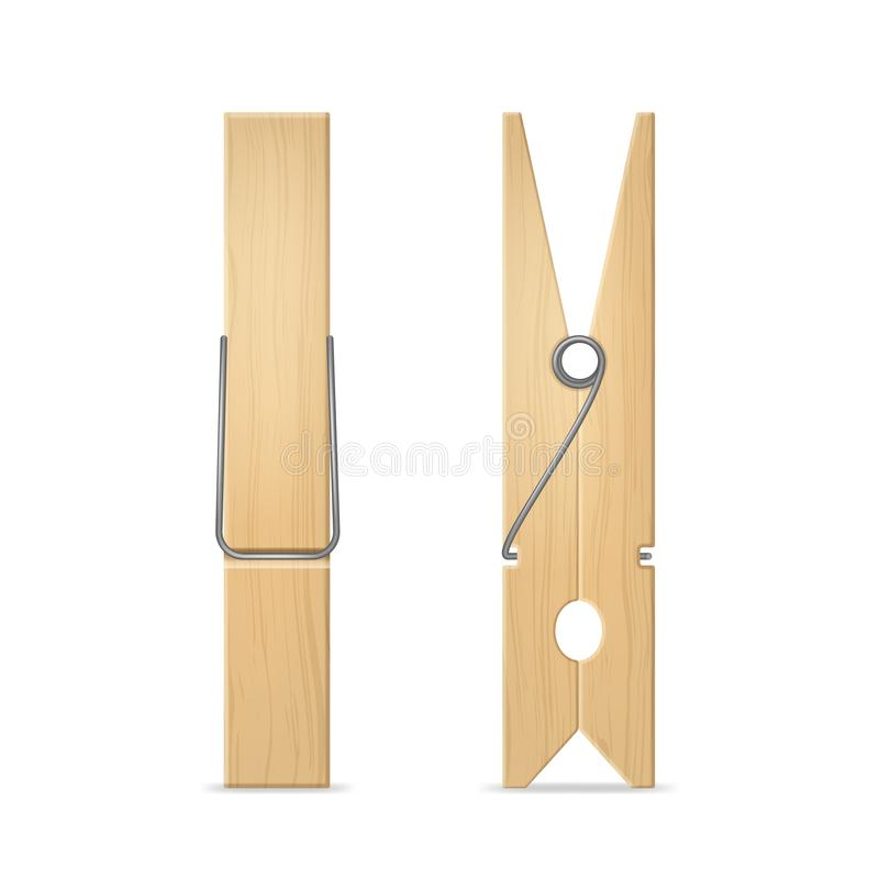 Realistic 3d Detailed Wooden Clothes Peg Set. Vector royalty free illustration
