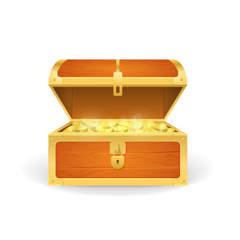 Realistic 3d Detailed Wooden Pirate Chest with Golden Coins. Vector vector illustration
