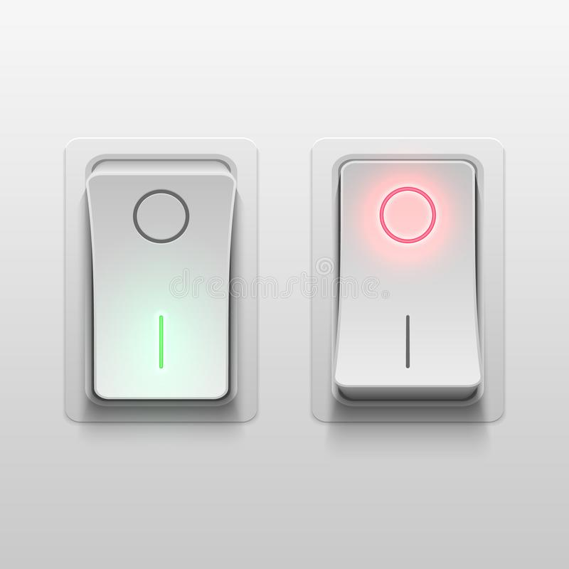 Realistic 3d electric toggle switches vector illustration. Electric light realistic switch control royalty free illustration