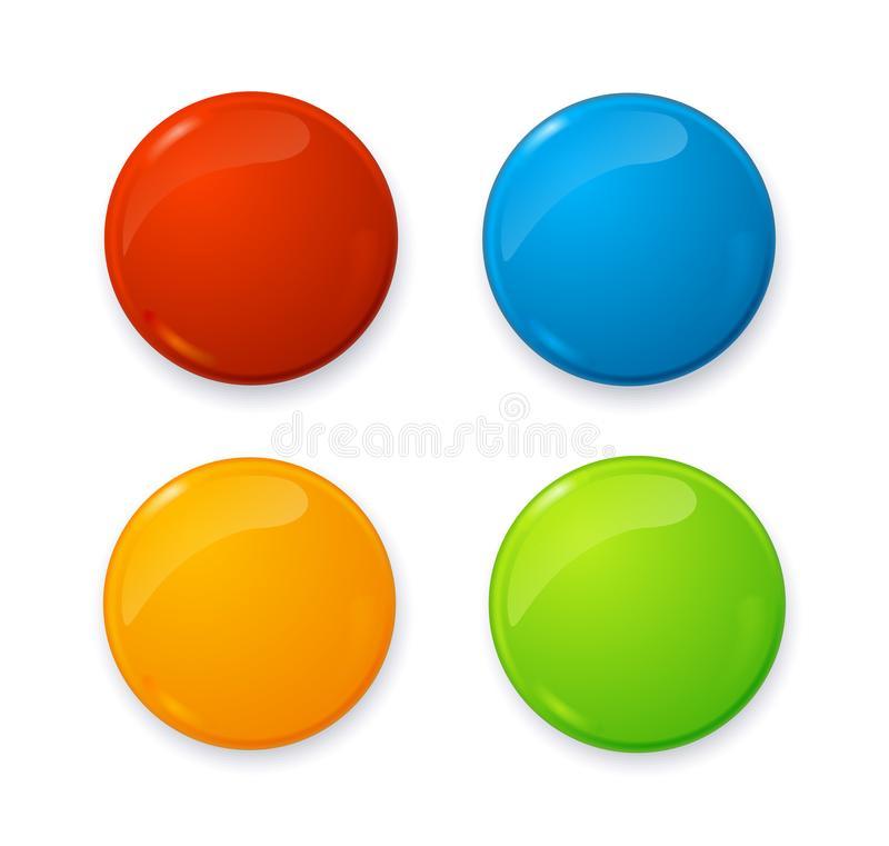 Realistic 3d Empty Color Blank Circle Button Badge Pin Set. Vector. Realistic 3d Empty Color Blank Circle Button Badge Pin Set Front Side Element Presentation royalty free illustration