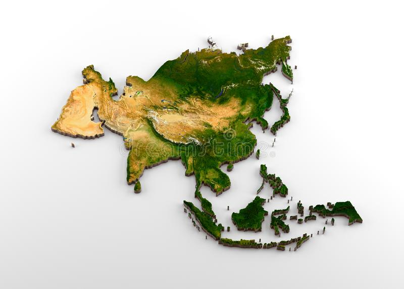 Realistic 3D Extruded Map of Asian Continent including Indian sub-continent,East Asia,Russia and Middle-East. 3D rendering of extruded high-resolution physical stock illustration