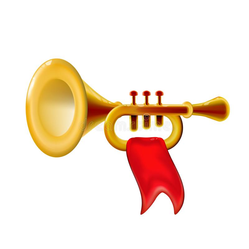 Realistic 3d Fanfare gold trumpet, icon with red flag isolated glossy wind musical instrument sign, decoration for holiday on vector illustration