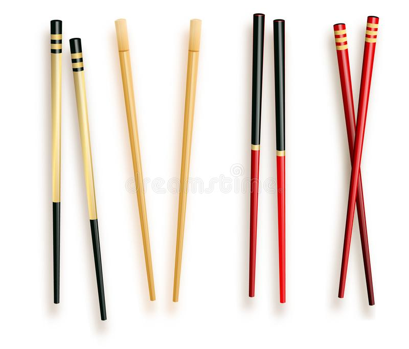 Realistic 3d Food Chopsticks Set Different Types. Vector illustration of Traditional Asian Bamboo Utensils Color royalty free illustration