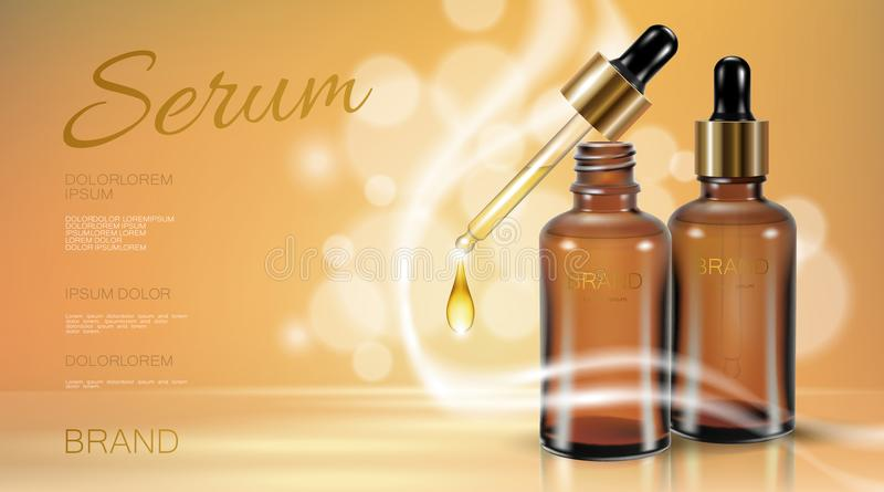 Realistic 3d glass bottle serum essence. Cosmetic ad promotion template natural oil vitamin drop droplet beige golden. Defocused boceh background vector royalty free illustration