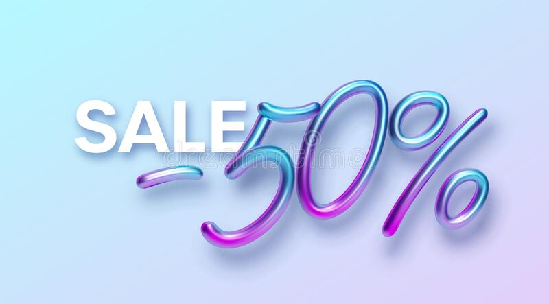 Realistic 3d golden font color rainbow holographic inscription Sale -50. Design element for holiday greeting flyers royalty free stock photos