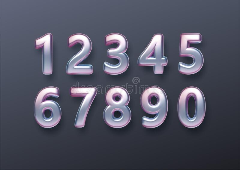 Realistic 3d golden font color rainbow holographic numbers isolated on black background. Design element for holiday royalty free stock photos