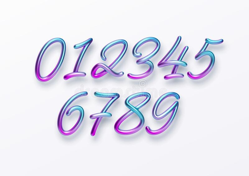 Realistic 3d golden font color rainbow holographic numbers isolated on white background. Design element for holiday royalty free stock image