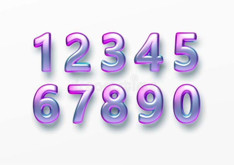 Realistic 3d golden font color rainbow holographic numbers isolated on white background. Design element for holiday stock photos