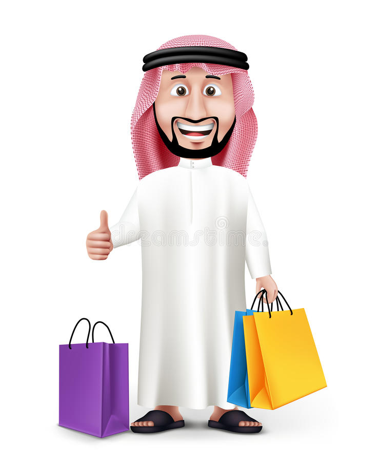 Realistic 3D Handsome Saudi Arab Man Character vector illustration