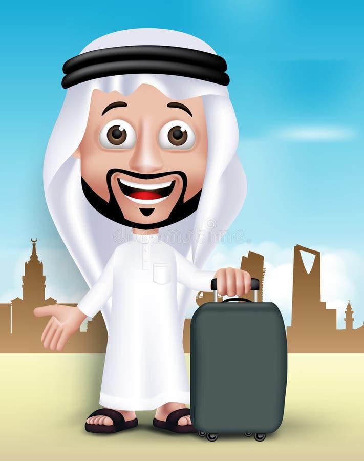 Realistic 3D Handsome Saudi Arab Man Wearing Thobe stock illustration