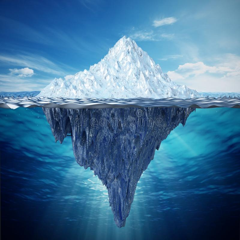 Realistic 3D illustration of an iceberg. 3D illustration.  stock illustration