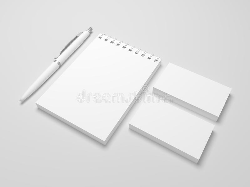 Realistic 3d Illustration Spiral Notepad With Pen And Business Cards ...