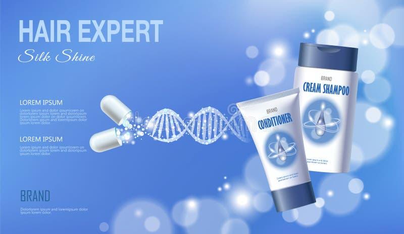 Realistic 3D innovation cosmetic DNA helix light hair care shampoo conditioner blue sky glowing blur medicine center. Vector illustration art vector illustration