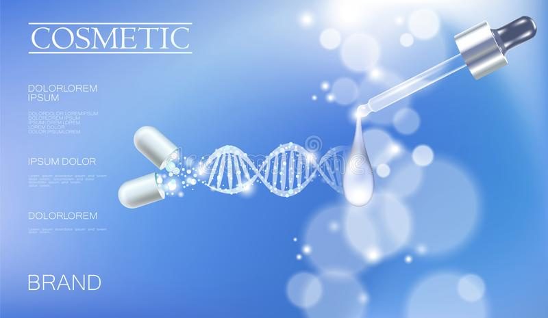 Realistic 3D innovation cosmetic DNA helix light package makeup face care blue sky glowing blur drug capsule medicine royalty free illustration