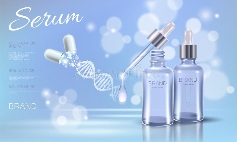 Realistic 3D innovation cosmetic DNA helix light package makeup face care blue sky glowing blur drug capsule medicine stock illustration