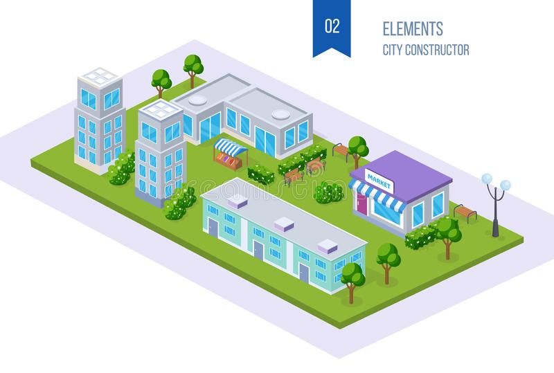 Realistic 3D isometric city, megalopolis, with tall buildings, skyscrapers, infrastructure. stock illustration