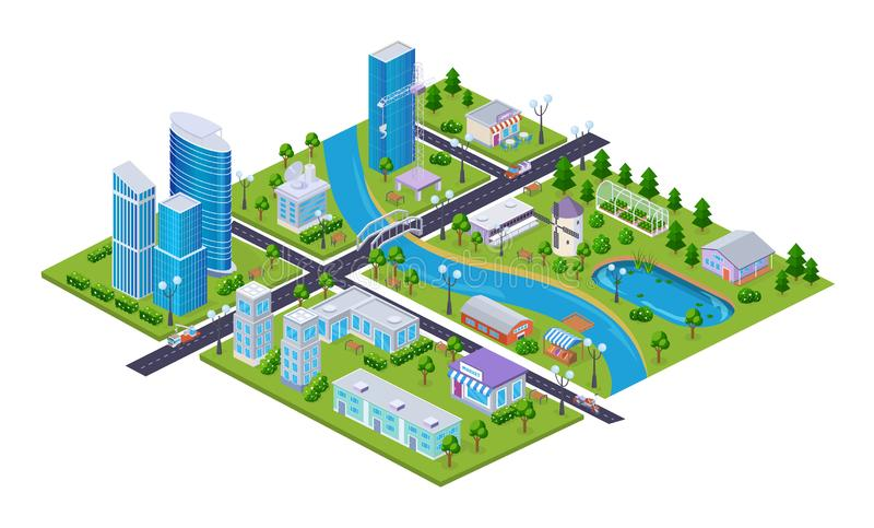 Realistic 3D isometry of city, megalopolis, with buildings, skyscrapers, infrastructure. Realistic 3D isometry of big city, transportation, business centers vector illustration