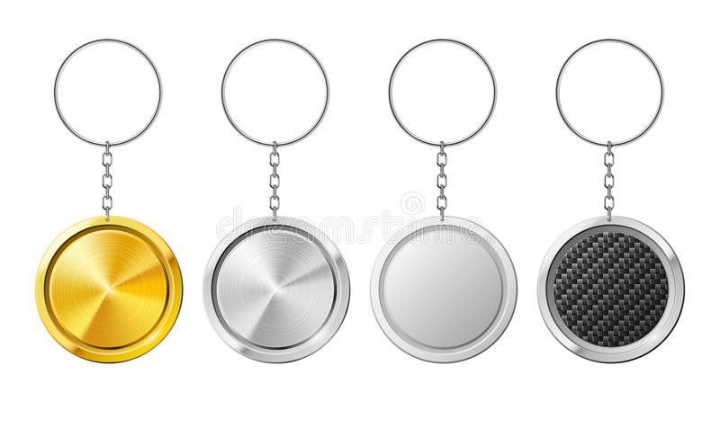 Realistic 3D key ring template. Plastic keychain with metal ring for keys. White holder of key ring at chain. Realistic isolated steel circle 3D key ring vector illustration