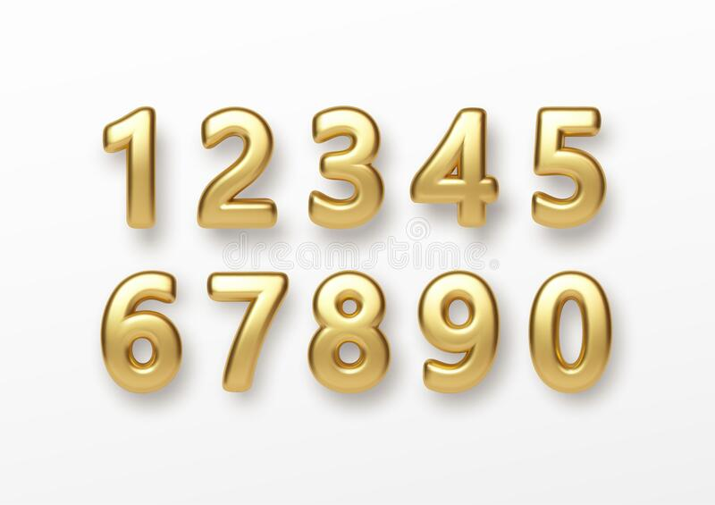 Realistic 3d lettering numbers isolated on white background. Golden numbers set. Decoration elements for banner, cover stock image