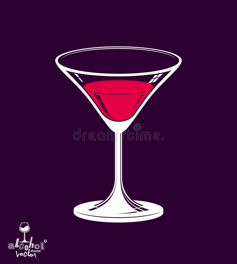 Realistic 3d martini glass placed over dark background, alcohol stock illustration