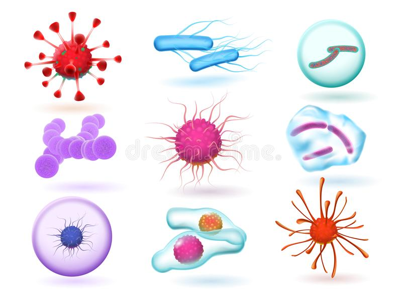 Realistic 3d microbiology bacteria, various virus, nature microorganism and science of microscopic viruses isolated royalty free illustration