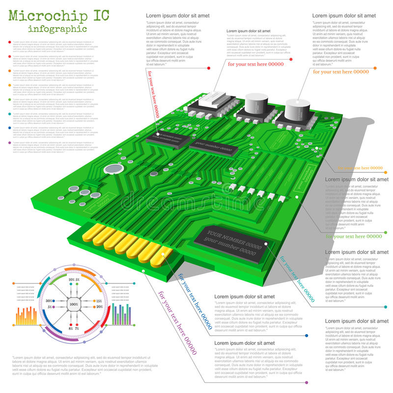 Realistic 3d microchip infographic. With data chart diagram graph info royalty free illustration