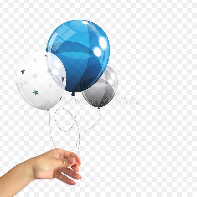 Realistic 3D Naturalistic hand of a man holding a Group of Color Glossy Helium Balloons Isolated on Transperent royalty free illustration