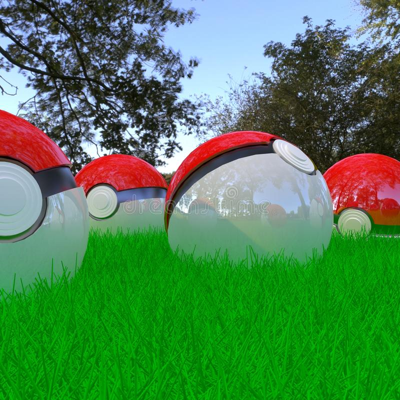 Realistic 3d pokeballs stock images