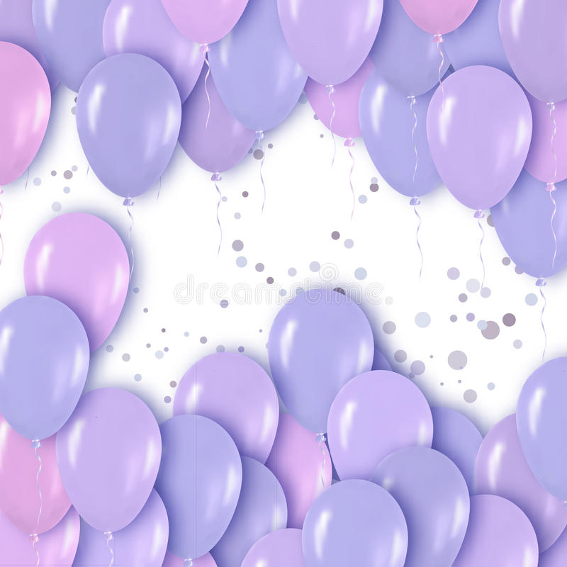 Realistic 3d Purple Violet Metallic Balloons Flying for Party and Celebrations. royalty free illustration