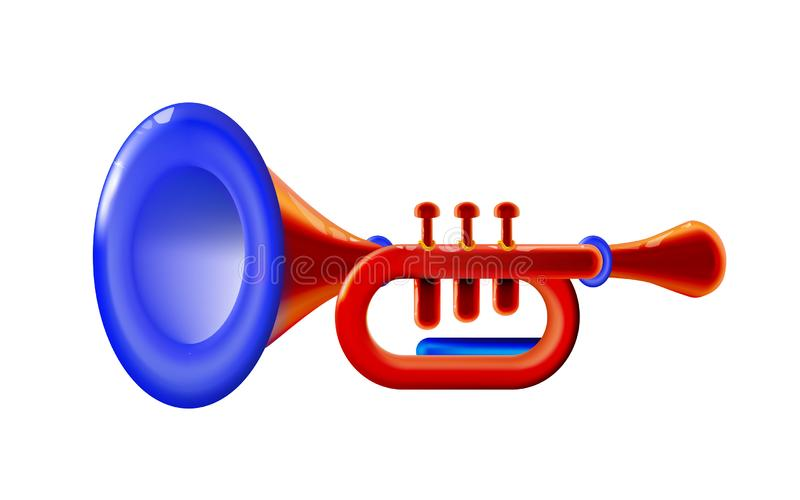 Realistic 3d red isolated glossy wind musical instrument - trumpet sign, icon for decoration or holiday, presentation on light vector illustration