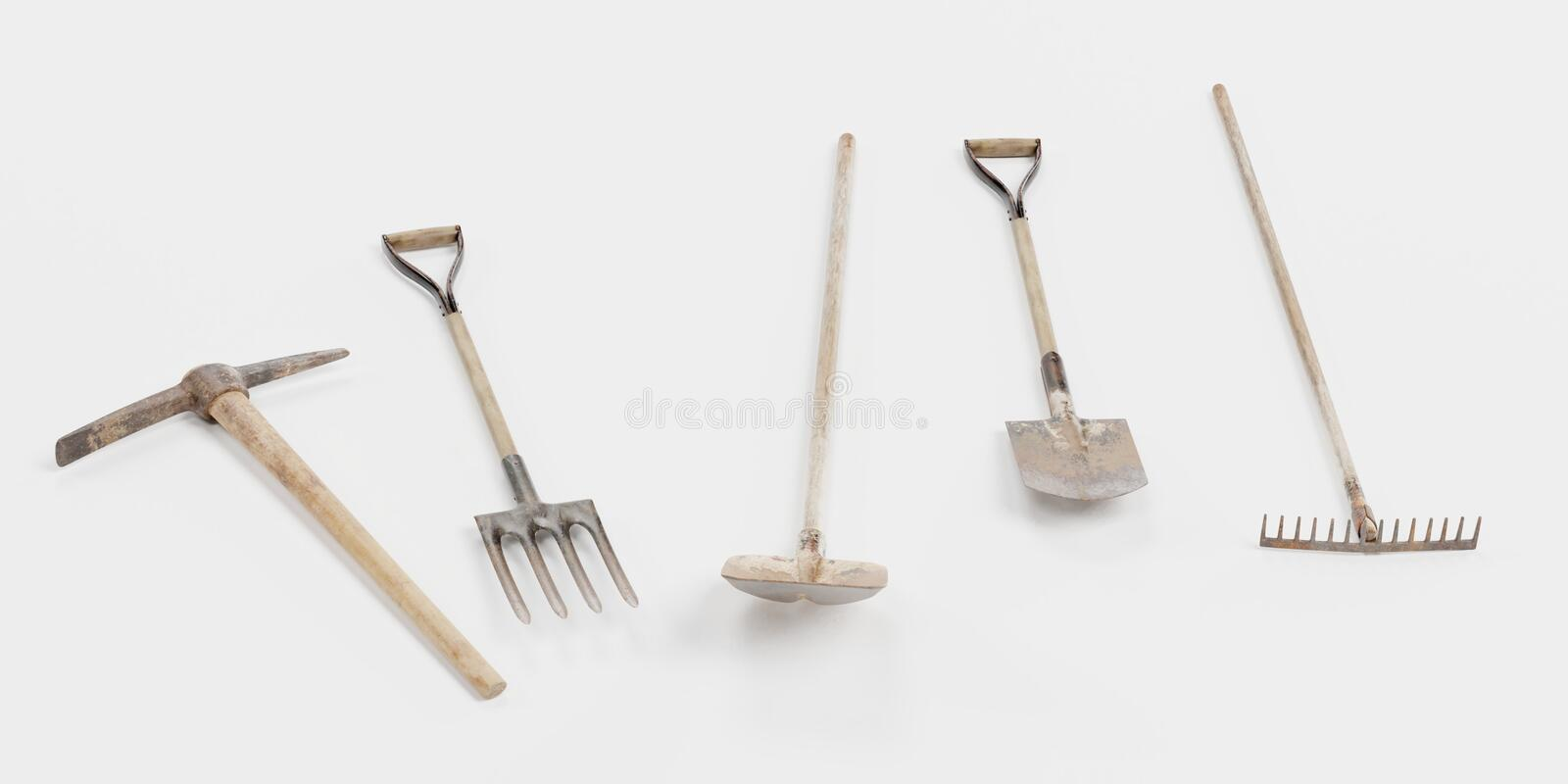 3D Render of Garden Tools vector illustration