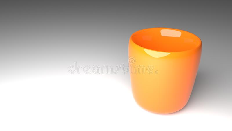 Realistic 3d rendered orange color cup stock image