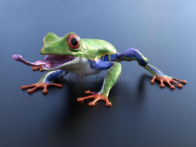 3D rendering of a realistic red-eyed tree frog with its tongue o vector illustration