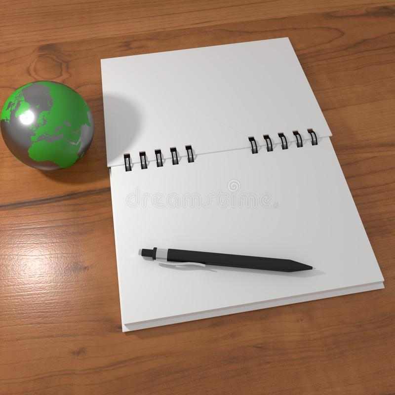 Realistic 3D rendering of white blank notebook on a wood table with a pen and a metal globe. Can be used as a mock-up royalty free illustration