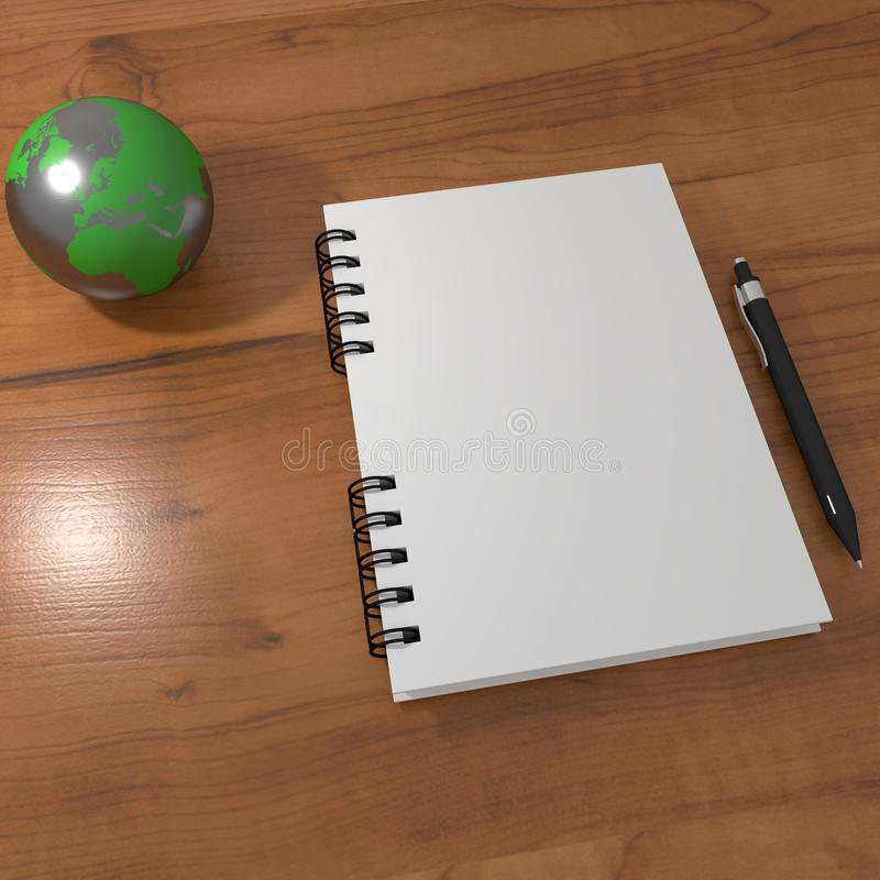 Realistic 3D rendering of white blank notebook on a wood table with a pen and a metal globe. Can be used as a mock-up vector illustration