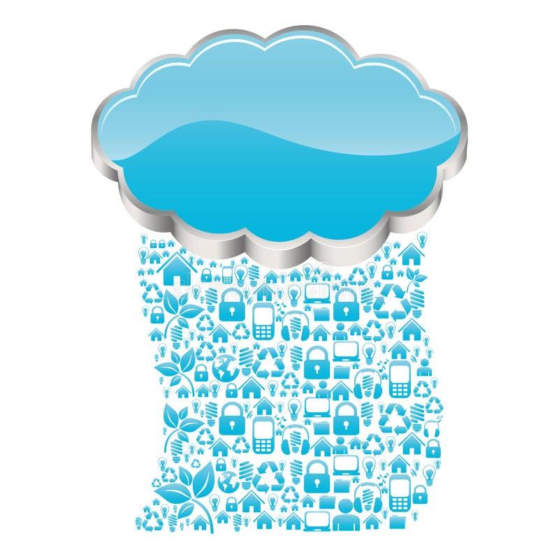 realistic 3d shape cloud storage with rain pattern tech device stock illustration