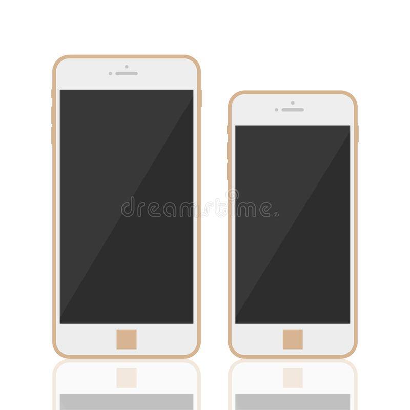 Realistic 3d smartphone template. Realistic 3d gold smartphone with template touchscreen, menu button, front camera. Smartphone mobile phone goldy color top royalty free illustration