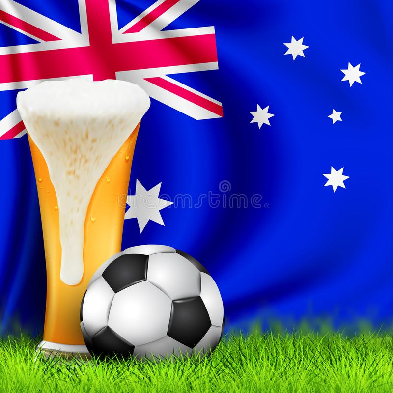 Realistic 3d Soccer ball and Glass of beer on grass with national waving Flag of Australia. Design of a stylish background stock illustration