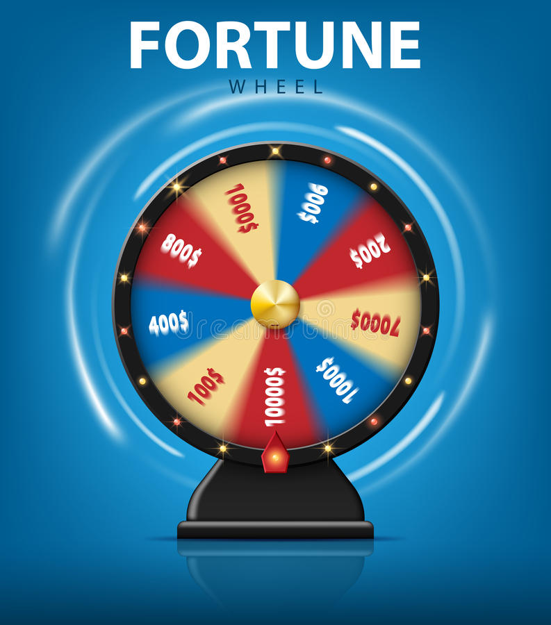 Realistic 3d spinning fortune wheel on blue background. Lucky roulette for online casino. vector illustration royalty free illustration