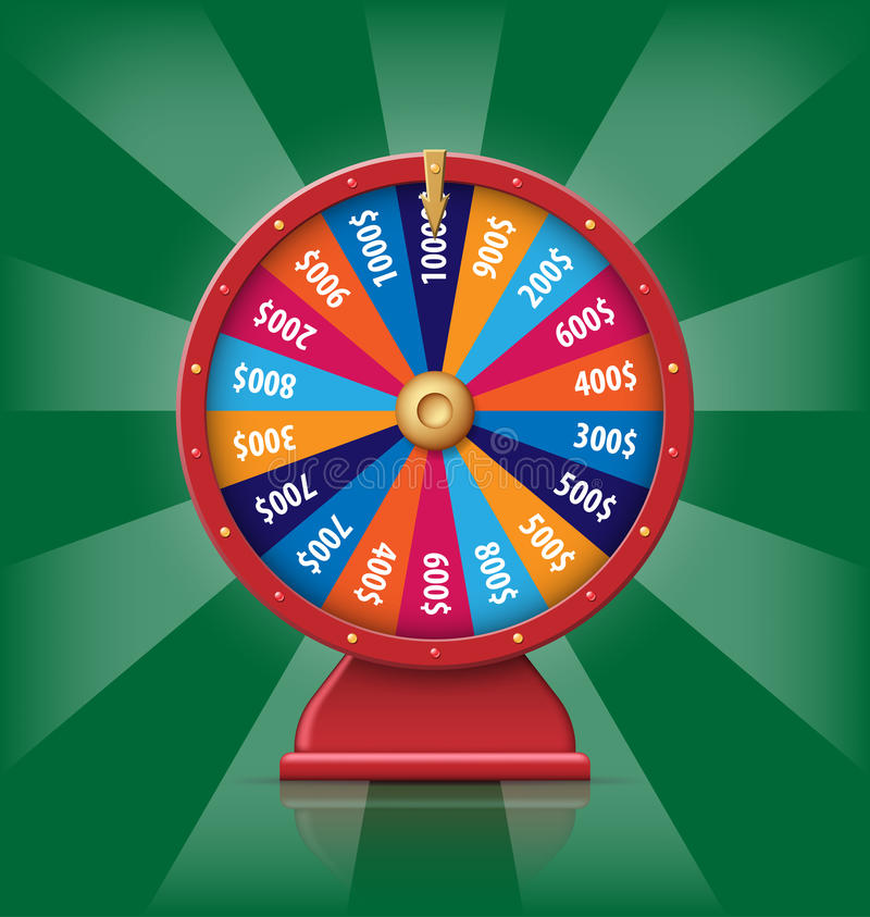 Realistic 3d spinning fortune wheel, lucky roulette vector illustration vector illustration