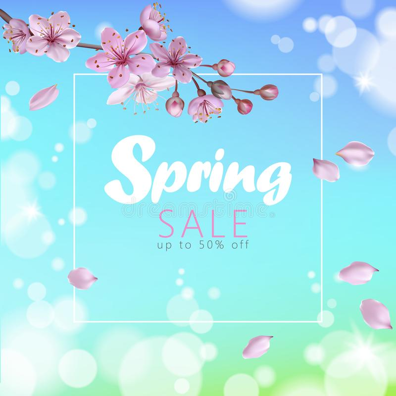 Realistic 3d spring sale script lettering web banner template. Color pink sakura cherry blossom flower blue sky stock illustration