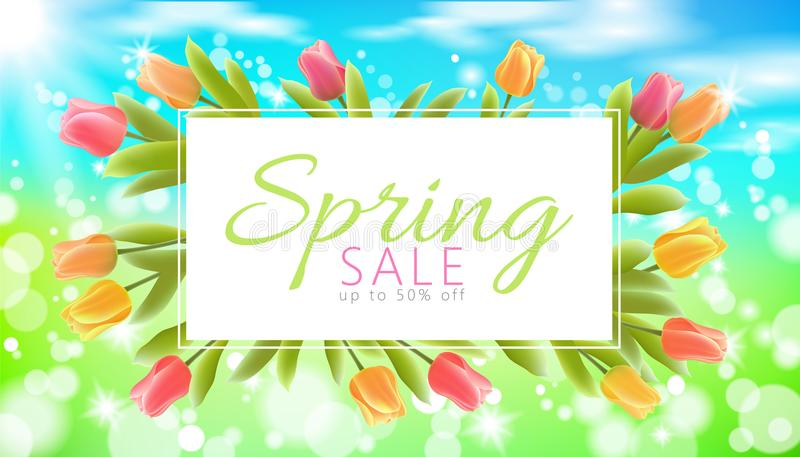Realistic 3d spring sale script lettering web banner template. Color tulip flowers grass blue sky blue background flyer vector illustration
