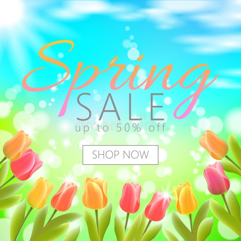 Realistic 3d spring sale script lettering web banner template. Color tulip flowers grass blue sky blue background shop vector illustration